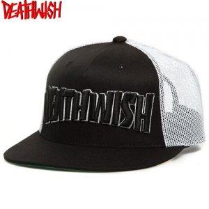 【デスウィッシュ DEATHWISH スケボー キャップ】Thrash Death Trucker Cap【ブラック x ホワイト】NO11