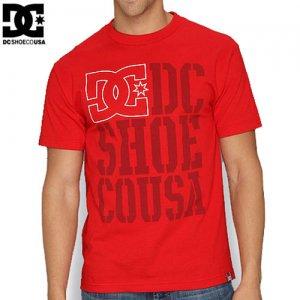 【DC ディーシーシューズ スケボー Tシャツ】RD USA LIGHT STACKED【レッド】NO12