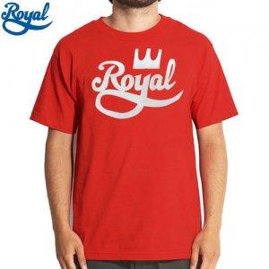 【ロイヤル ROYAL TRUCKS スケボー Tシャツ】CROWN SCRIPT TEE【レッド x ホワイト】NO52
