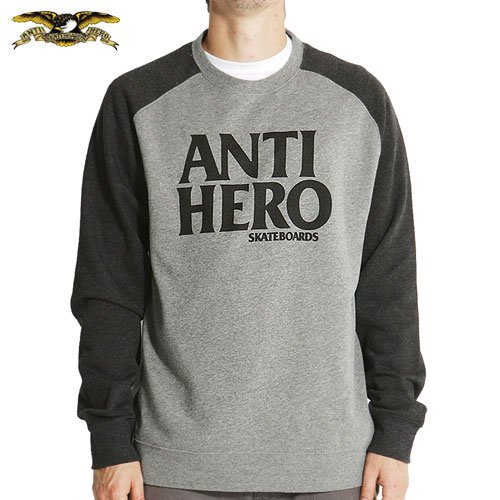 【ANTI HERO HOOD アンチヒーロー スウェット】BLACK HERO CREW NECK RAGLAN【グレー ヘザー】NO5