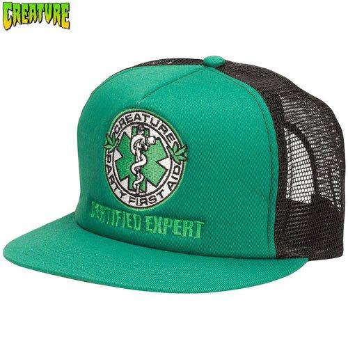 【クリーチャー CREATURE スケボー キャップ】FIRST AID TRUCKER HAT【グリーン x ブラック】NO32