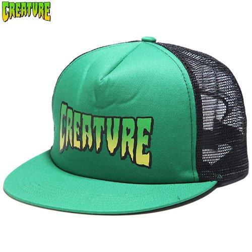 【クリーチャー CREATURE スケボー キャップ】LOGO MESH TRUCKER HAT【グリーン x ブラック】NO38