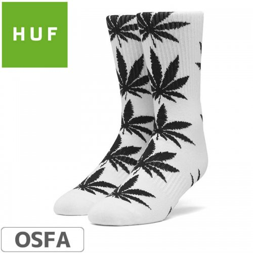 【HUF ハフ スケボー ソックス】靴下 PLANT LIFE SOCKS【ホワイト x ブラック】NO20