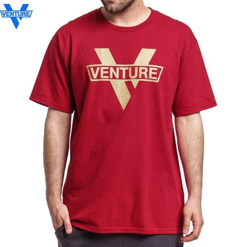 【ベンチャー VENTURE TRUCKS スケボー Tシャツ】MAINSTAY 2 TEE【レッド x ゴールド】NO25