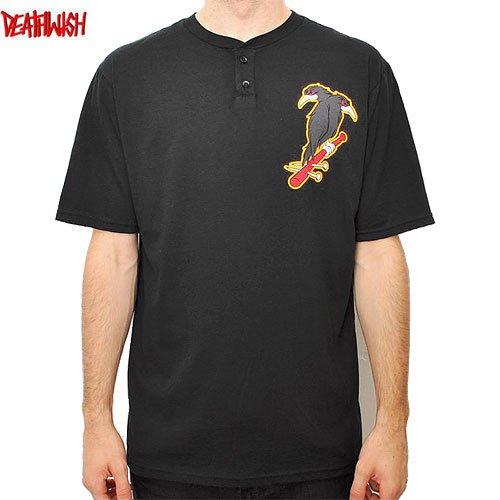 【デスウィッシュ DEATHWISH スケボーTシャツ】DOUBLE PLAY HENLEY TEE【ブラック】NO17