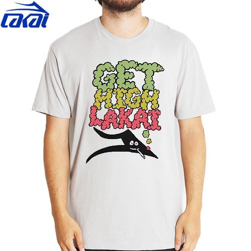 【LAKAI ラカイ スケボー Tシャツ】LAKAI GET HIGH TEE【シルバー グレー】NO18