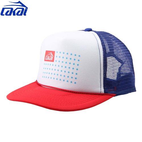 【ラカイ LAKAI スケート キャップ】FLAG MESH CAP【ブルー x ホワイト x レッド】NO5