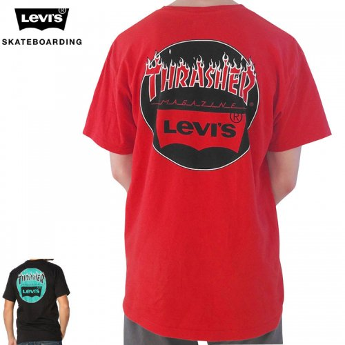 【LEVI'S SKATEBOARDING リーバイス Tシャツ】THRASHER LOGO TEE【レッド】【ブラック】NO1