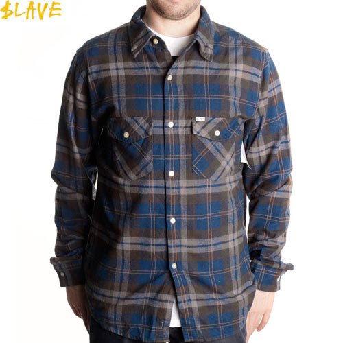 【スレイブ SLAVE スケートボード シャツ】FLANNEL SHIRTS L/S ネルシャツ【ネイビー x ブラウン】NO1