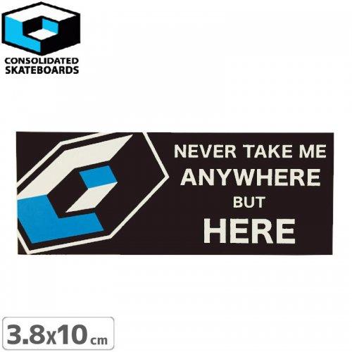 【CONSOLIDATED コンソリデーテッド スケボー ステッカー】HERE【3.8cm x 10cm】NO20