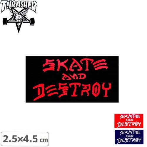 【スラッシャー THRASHER スケボー ステッカー】USA規格 SKATE AND DESTROY【3色】【2.5cm×4.5cm】NO04