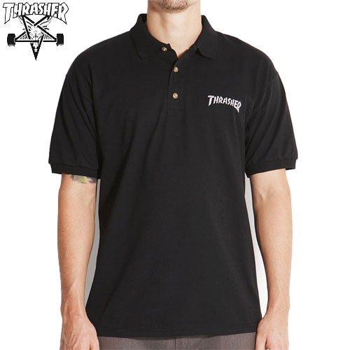 【スラッシャー THRASHER ポロシャツ】USAモデル EMBROIDERED THRASHER LOGO POLO SHIRT【ブラック】NO2