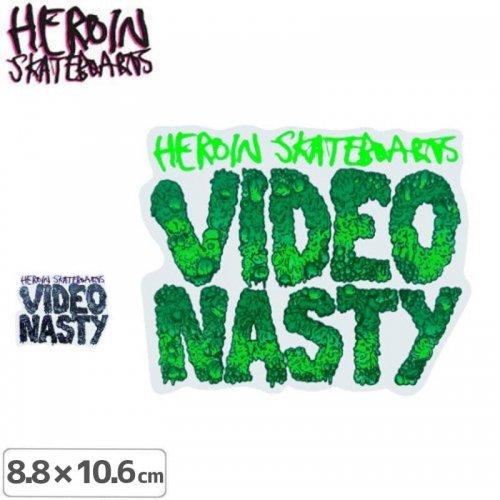 【HEROIN ヘロイン スケボー ステッカー】Video Nasty【2色】【8.8cm×10.6cm】NO18