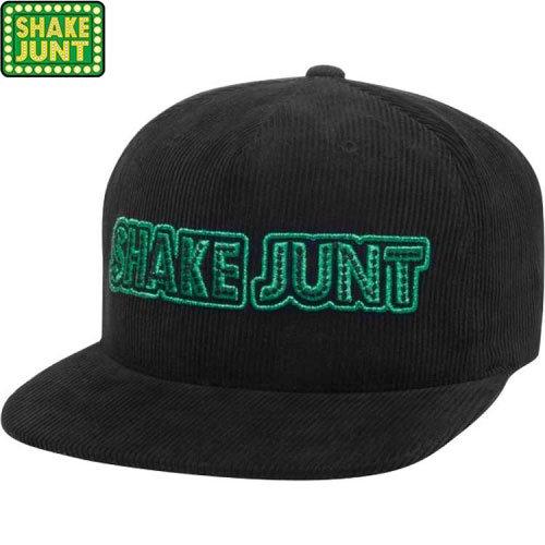 【シェイクジャント SHAKE JUNT スケボー キャップ】STRETCH LOGO SNAPBACK HAT【ブラック x グリーン】NO5