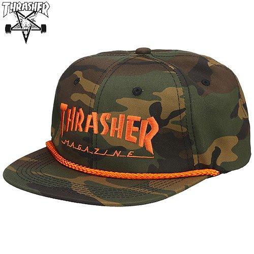 【スラッシャー THRASHER メッシュ キャップ】USAモデル LOGO ROPE SNAPBACK CAP【オレンジ x カモ】NO26