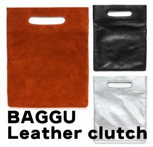 BAGGU(バグゥ)本革レザー&スウェードクラッチバッグ/LPB CLUTCH BAG/バグー<img class='new_mark_img2' src='https://img.shop-pro.jp/img/new/icons16.gif' style='border:none;display:inline;margin:0px;padding:0px;width:auto;' />