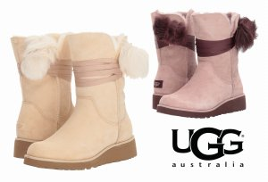 UGG(アグ)Brita ブリタ ポンポン付きムートンブーツ/レディース/リボン付きシープスキンブーツ<img class='new_mark_img2' src='https://img.shop-pro.jp/img/new/icons16.gif' style='border:none;display:inline;margin:0px;padding:0px;width:auto;' />