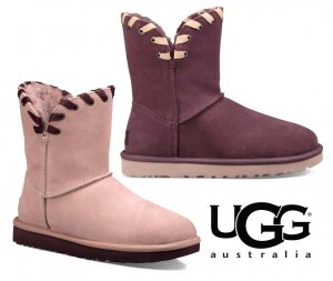 UGG(アグ)Aidah ミディアム丈ムートンブーツ/レディース/リボンステッチシープスキンブーツ<img class='new_mark_img2' src='https://img.shop-pro.jp/img/new/icons16.gif' style='border:none;display:inline;margin:0px;padding:0px;width:auto;' />