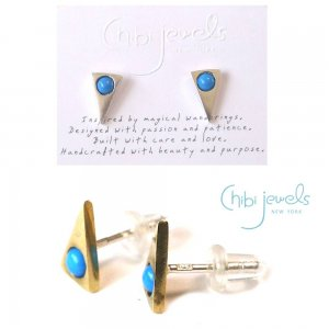Chibi Jewels(チビジュエルズ)ターコイズ トライアングルピアス/三角ピアス/Turquoise Triangle Stud Earrings/E186<img class='new_mark_img2' src='https://img.shop-pro.jp/img/new/icons16.gif' style='border:none;display:inline;margin:0px;padding:0px;width:auto;' />