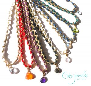 Chibi Jewels(チビジュエルズ)しずく型ストーンのチョーカーネックレス/2連ブレスレット/Color Cord Choker Necklace/N289<img class='new_mark_img2' src='https://img.shop-pro.jp/img/new/icons16.gif' style='border:none;display:inline;margin:0px;padding:0px;width:auto;' />