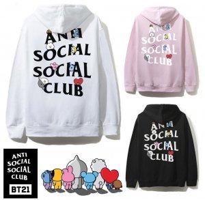 アンチソーシャルソーシャルクラブ(ANTI SOCIAL SOCIAL CLUB)×BT21 コラボスウェットパーカー ブラック ピンク ホワイト 防弾少年団 BTS ASSC