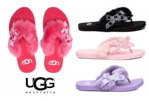 UGG(アグ)ムートンビーチサンダル/SUNSET GRAPHIC/サンセットグラフィック/ファー付きレディーストングサンダル<img class='new_mark_img2' src='https://img.shop-pro.jp/img/new/icons16.gif' style='border:none;display:inline;margin:0px;padding:0px;width:auto;' />