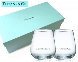 TIFFANY & CO(ティファニー)ロゴ入りガラスタンブラー2個セット/グラス/紙袋付き