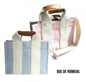 Rue De Verneuil(リュ ドゥ ヴェルヌイユ)2Wayミニトートバッグ/BabyTote/OXFORD PATCHWORK/ピンク、ブルー<img class='new_mark_img2' src='https://img.shop-pro.jp/img/new/icons16.gif' style='border:none;display:inline;margin:0px;padding:0px;width:auto;' />