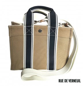 Rue De Verneuil(リュ ドゥ ヴェルヌイユ)2Wayミニトートバッグ/BabyTote/STRIPED STRAP/ベージュブラウン<img class='new_mark_img2' src='https://img.shop-pro.jp/img/new/icons16.gif' style='border:none;display:inline;margin:0px;padding:0px;width:auto;' />