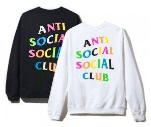 アンチソーシャルソーシャルクラブ(ANTI SOCIAL SOCIAL CLUB)スウェットトレーナー/レインボー ブラック ホワイト ASSC Rainbow Crewneck
