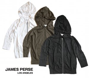 JAMES PERSE(ジェームス パース)レディースジップパーカー/七分袖フーディー<img class='new_mark_img2' src='https://img.shop-pro.jp/img/new/icons16.gif' style='border:none;display:inline;margin:0px;padding:0px;width:auto;' />