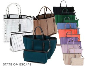 State of Escape(ステイトオブエスケープ)ショルダー&トートバッグ/プチエスケープトートバッグ/PETITE ESCAPE tote bag/ミニサイズネオプレンバッグ/ホワイト、ピンク