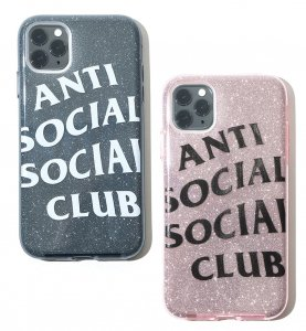 クリアランス/アンチソーシャルソーシャルクラブ(ANTI SOCIAL SOCIAL CLUB)iPhone11ケース ラメ グレー ピンク ASSC ソフトケース