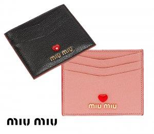 【2021年春夏モデル】MiuMiu(ミュウミュウ)マドラスラブ カードケース 名刺入れ パスケース レザーカードホルダー Madras Love leather card holder