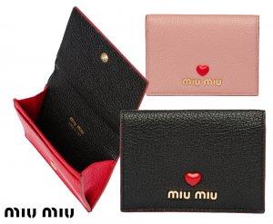 【2021年春夏モデル】MiuMiu(ミュウミュウ)マドラスラブ カードケース 名刺入れ レザーカードホルダー Madras Love leather card holder ブラック ピンク