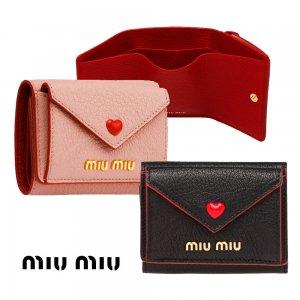 【2021年春夏モデル】MiuMiu(ミュウミュウ)マドラスラブ 三つ折り財布 レザーコンパクトウォレット Madras Love leather wallet ブラック ピンク