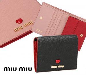 【2021年春夏モデル】MiuMiu(ミュウミュウ)マドラスラブ 二つ折り財布 レザーコンパクトウォレット Madras Love leather wallet ブラック ピンク