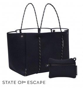 State of Escape(ステイトオブエスケープ)ESCAPE BAG ブラック×内側ホワイト/トートバッグ ポーチ付き/ネオプレンバッグ/マザーズバッグ/エコバッグ