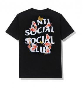 アンチソーシャルソーシャルクラブ(ANTI SOCIAL SOCIAL CLUB)Tシャツ 桜と蝶 Kkoch Black Tee ブラック ASSC