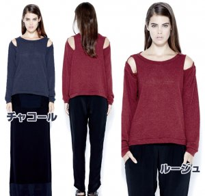 LnA(エルエヌエー)肩開き長袖ロングセーター/カットソー/トップス<img class='new_mark_img2' src='https://img.shop-pro.jp/img/new/icons16.gif' style='border:none;display:inline;margin:0px;padding:0px;width:auto;' />