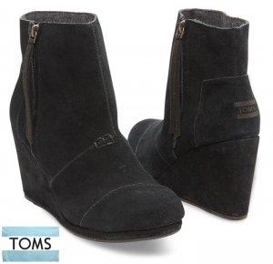 トムズ(Toms)スウェードブーツ/ウエッジソール/DESERT WEDGES HIGH Black/ブラック