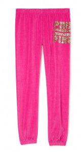 ヴィクトリアシークレットPINK(VictoriasSecretPINK)スパンコール付きベロアスウェットパンツ/ピンク
