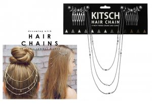 Kitsch(キッチュ)フラワーパールヘアチェーン/ヘアアクセサリー/Pearl Hair Chain/アンティークシルバー<img class='new_mark_img2' src='https://img.shop-pro.jp/img/new/icons16.gif' style='border:none;display:inline;margin:0px;padding:0px;width:auto;' />