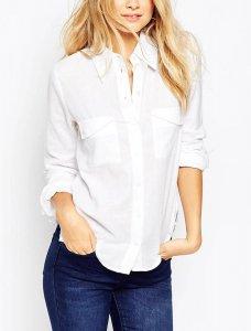 エイソス(asos)シャツ/長袖ツイルYシャツ(ホワイト)