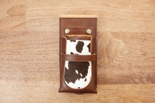 シザーケースCute4丁チョコ革黒牛ハラコフタあり