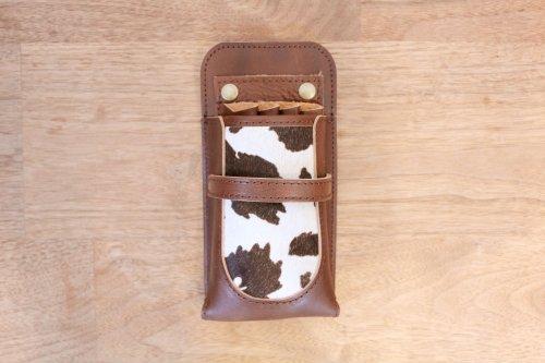シザーケースCute4丁チョコ革黒牛ハラコフタなし