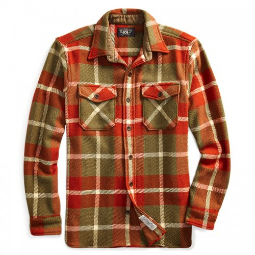 【SALE特価30%off】Double RL『SUEDE-ELBOW WOOL OVERSHIRT』(RED/TAN)