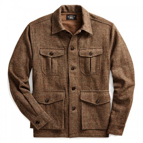 【SALE特価30%off】Double RL『WOOL-BLEND TWEED OVERSHIRT』(WHISKEY/OLIVE)