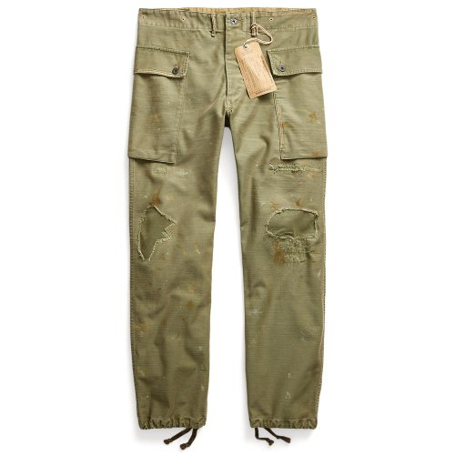 Double RL『DISTRESSED SATIN CARGO PANT』(OLIVE REPAIRED PAINT)