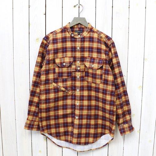 ENGINEERED GARMENTS『Banded Collar Shirt-Cotton Printed Plaid』(Tan/Purple)